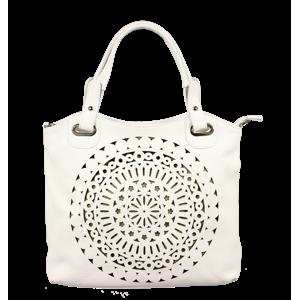 Bílá kožená dámská kabelka do ruky Celina Bianca
