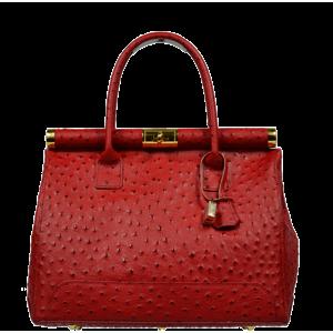 Červená kožená kabelka Laureta Rossa Struzzo